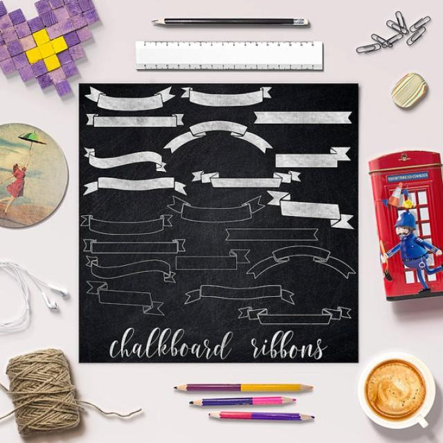 wedding photo - Ribbons Clip Art, Chalkboard Ribbons Clipart, Chalkboard Banners Clip Art, Doodled Ribbons, 20 PNG Images, Coupon Code: BUY5FOR8