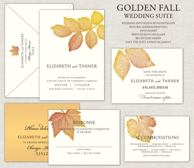 Gold Fall Leaves Wedding Invitation, Golden Wedding Invite, Rustic, Linen Invitations, Save the Dates, Oak, Ash, Maple, Birch, Autumn