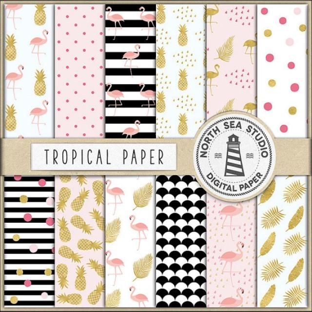 wedding photo - Exotic Digital Paper, Tropical Backgrounds, Summer Patterns, Flamingo, Pineapple, Summer, Birds, Leaves, Coupon Code: BUY5FOR8