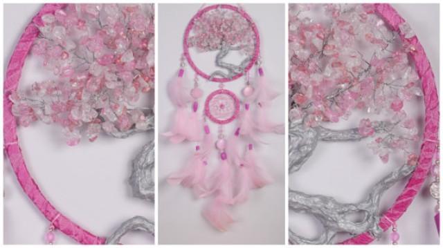 wedding photo - Pink Dream Catcher Tree of life Dreamcatcher quartz Dream сatcher pink quartz dreamcatchers decor wall handmade pink unique gift birthday