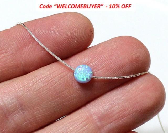 wedding photo - SALE Opal Coin Necklace, Disc necklace, Sterling Silver, Opal Blue Coin Necklace, Tiny Opal Necklace, Ball Necklace, Delicate Opal Necklace