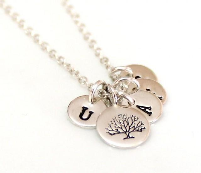 wedding photo - Tree of Life Initial Sterling Silver, Family Tree Necklace, Personalized Wife Jewelry Gift, Tree of Life Necklace, Mom Grandma