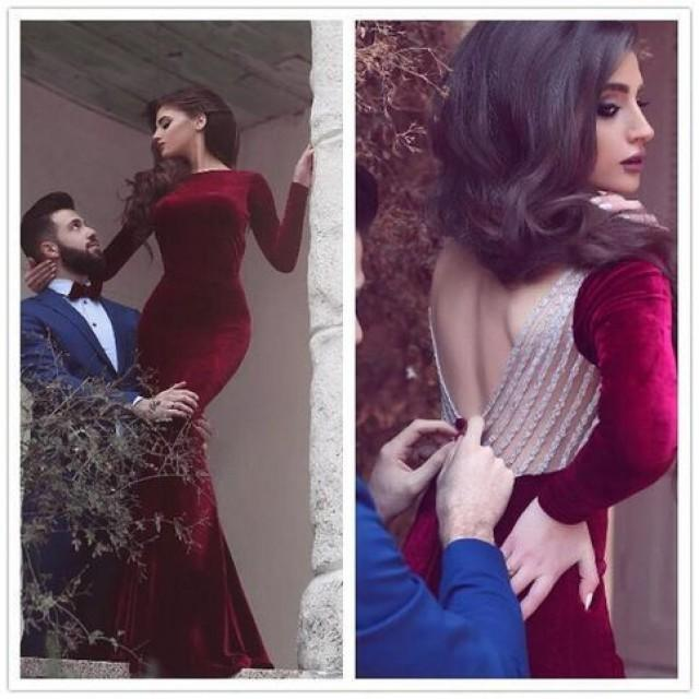 wedding photo - Fashion Red Velet Mermiad Long Sleeves Backless Prom Dress with Beading from Tidetell