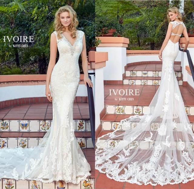 wedding photo - New Arrival 2017 Sexy Beaded V-Neck Backless Wedding Dresses Tulle Lace Applique Mermaid Wedding Dress Bridal Gowns Custom Made Lace Luxury Illusion Online with $165.72/Piece on Hjklp88's Store