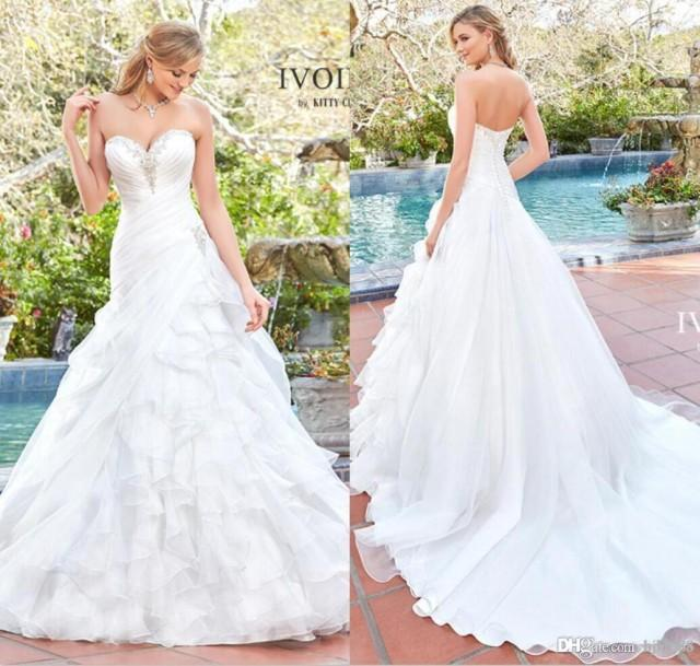 wedding photo - Kitty Chen 2017 New Arrival A Line Organza Wedding Dresses Sweetheart Strapless Beaded Ruffles Wedding Dress Bridal Gowns White/Ivory Lace Luxury Illusion Online with $160.0/Piece on Hjklp88's Store