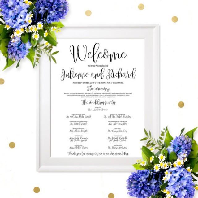 wedding photo - Wedding program Sign Poster-Chic Calligraphy Wedding Program Poster-DIY Printable Affordable Wedding Program Board-Ceremony Order Poster