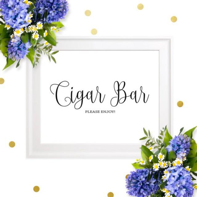wedding photo - Cigar Bar Wedding Sign-Chic Calligraphy Cigar Bar Please Enjoy Sign-DIY Printable Cigar Sign for Rustic Wedding-Groomsmen Cigars Party