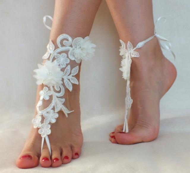 wedding photo - Free Ship ivory foot jewelry, lace sandals, beach wedding barefoot sandals, wedding bangles, anklets, bridal, wedding