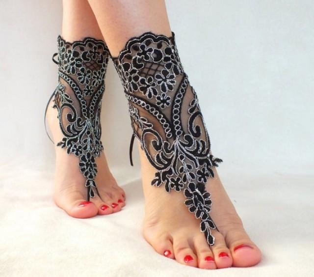 wedding photo - Black silver lace barefoot sandals, FREE SHIP, beach wedding barefoot sandals, belly dance, goth wedding, bridesmaid gift, beach shoes