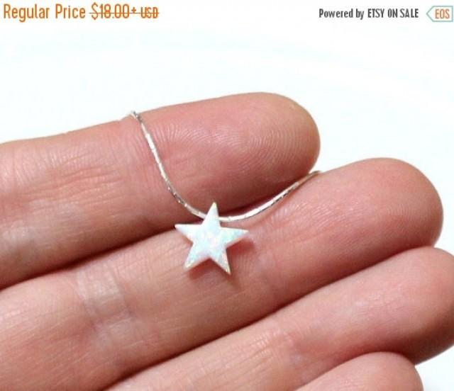 wedding photo - Spring Sale Opal Star Necklace, Opal Necklace, Opal Silver Necklace, Opal Jewelry, White Opal Necklace, Blue Star Opal Necklace, Simple Neck