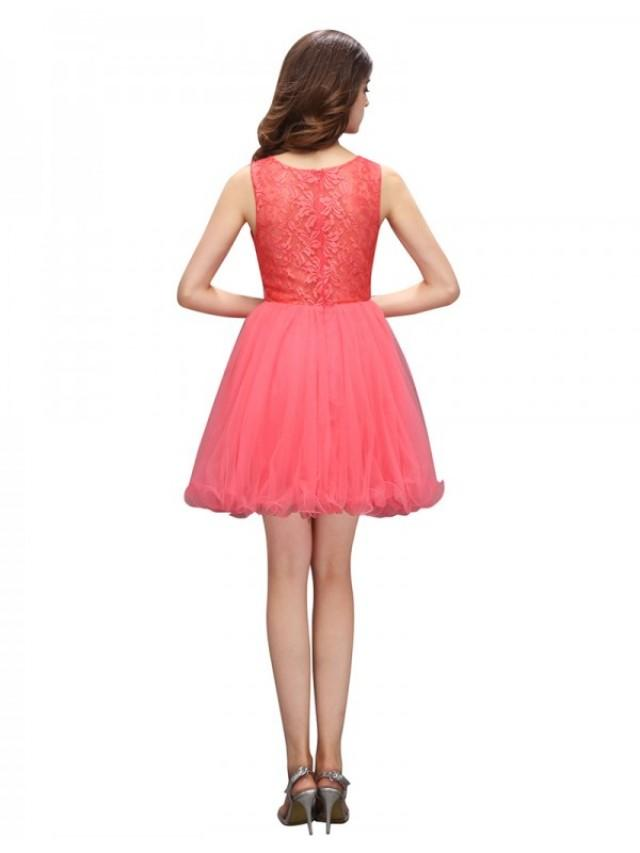 wedding photo - Popular Bateau Sleeveless Short Coral Prom Dress with Beading Lace Top