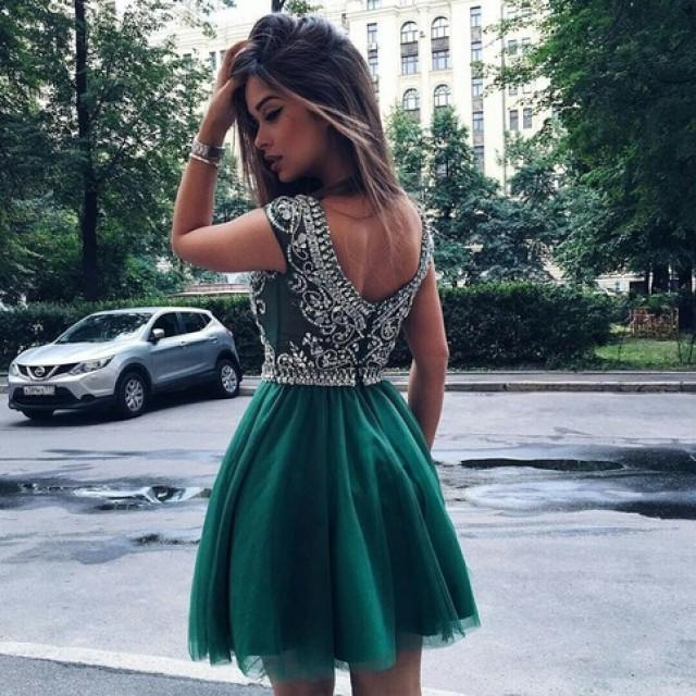 wedding photo - Chic Turquoise / Hunter Homecoming Prom Dress - Short Scoop Cap Sleeves with Beading from Dressywomen