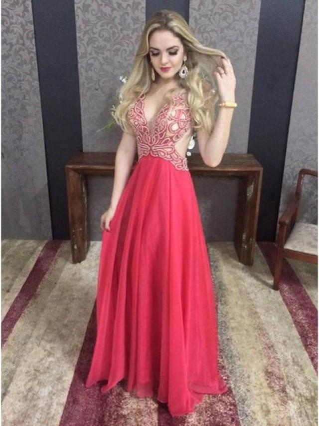 wedding photo - Sexy Deep V-Neck Backless Sleeveless Red Long Prom Dress with Beading from Tidetell