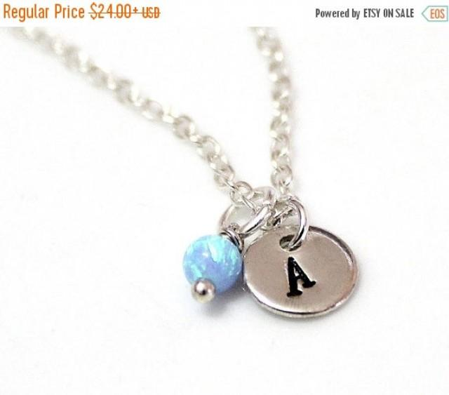 wedding photo - Spring Sale Opal Initial Necklace, Sterling Silver Initial Necklace, Initial Charm, Blue Opal Charm Necklace, Sterling Silver Necklace, Char