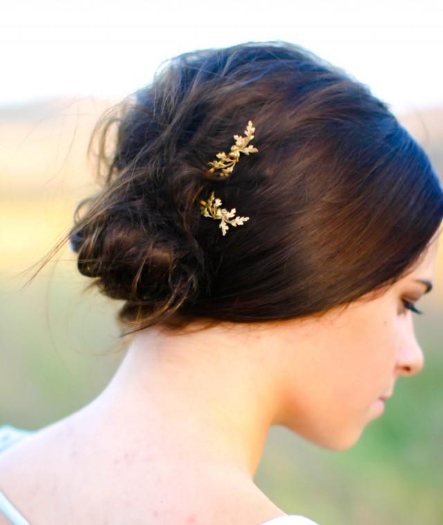 Fall Wedding Hair Accessory Oak Leaf & Acorns Hair Pin Autumn Hair Clip Oak Leaves Hair Barrette Woodland Hair Fall Bride Fall Wedding