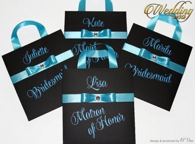 wedding photo - Luxury Personalized Bags Matron of Honor Gift Bags with Blue ribbone Custom Bridesmaid Bachelorette bags Bridal favors Bridal Shower gifts
