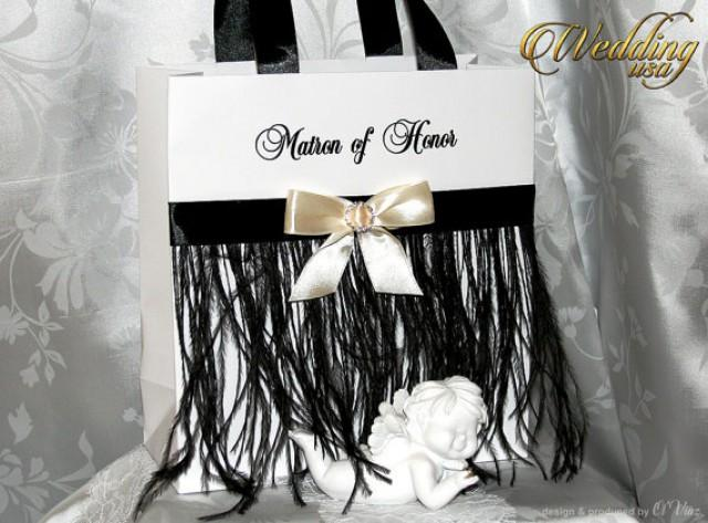 wedding photo - Elegant Black and White Bride's Gift bags - Bachelorette bags - Bridal Party Gift Bag with name - Bridal Shower gifts - Wedding Hotel bags