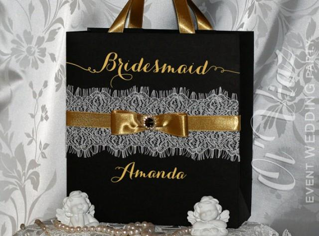 wedding photo - Luxury Personalized Bags Bridesmaid Gift Bags with ribbone, lace and tag - Gold & Black Custom Bridesmaid Bachelorette bags Bridal favors