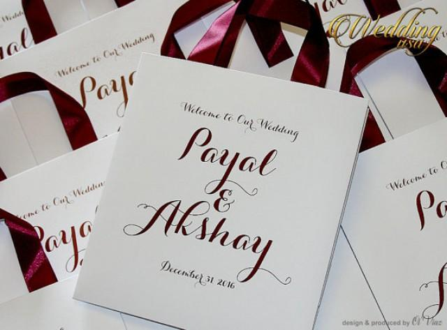 wedding photo - 100 Wedding Welcome Bags with satin ribbon and names - White and Burgundy Elegant Personalized Paper Bag Custom Wedding Gift bags Hotel bags