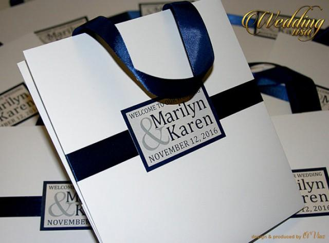 wedding photo - 15 Wedding Welcome Bags with satin ribbon and names - Elegant Personalized Paper Bag - White and Navy Blue - Custom Wedding Gift bags