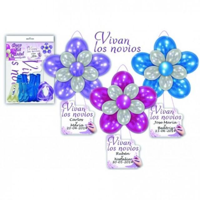 "wedding photo - Deco Kit globos cartel ""Vivan los novios"""