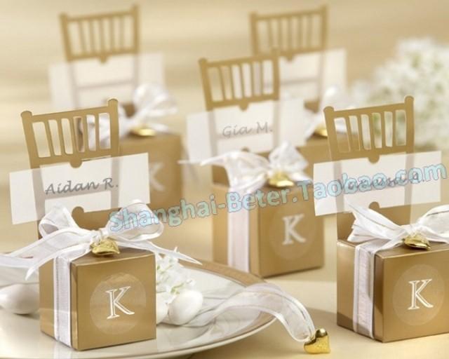 wedding photo - Beter Gifts® 金色椅子喜糖盒子 席位卡TH041新娘結婚桌卡時尚婚慶用品beterwedding