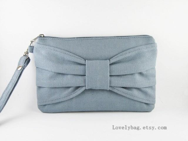 wedding photo - SUPER SALE - Gray Bow Clutch - Bridal Clutches, Bridesmaid Wristlet, Wedding Gift - Made To Order