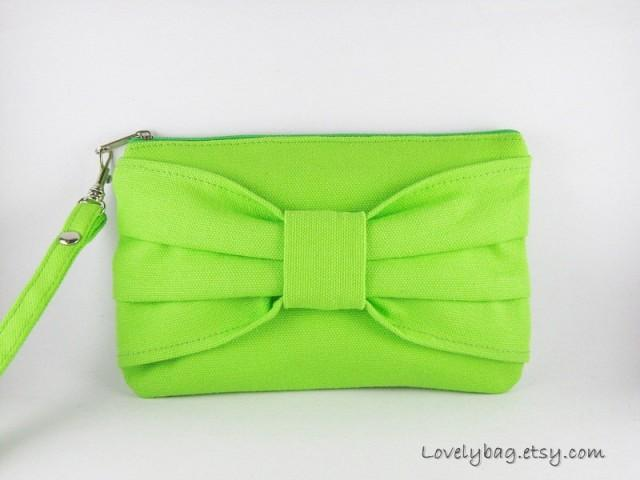 wedding photo - SUPER SALE - Lime Green Bow Clutch - Bridal Clutches, Bridesmaid Wristlet, Wedding Gift - Made To Order