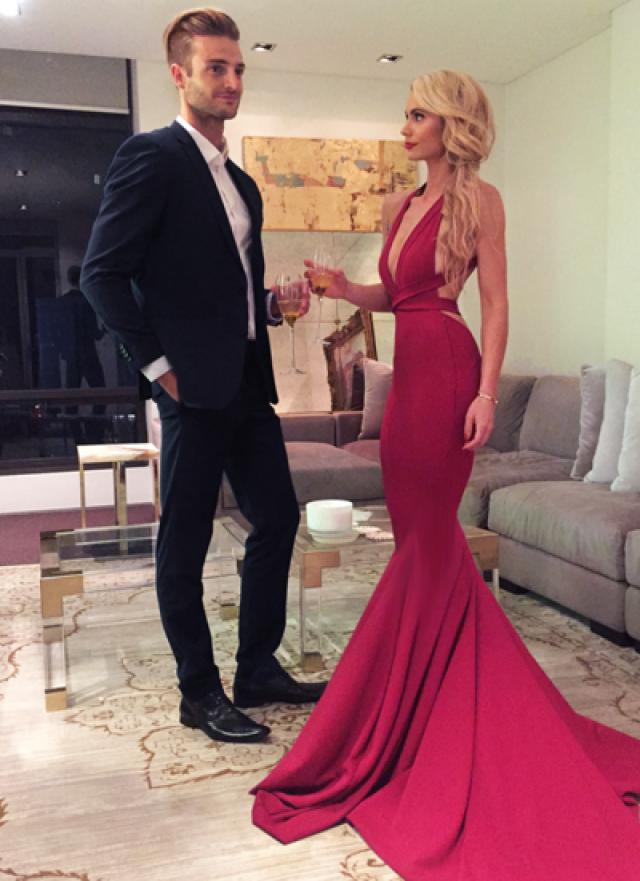 wedding photo - Sexy Red Prom Evening Dress, Sexy Red Mermaid Long Prom Dress, Formal Evening Dress with Criss Cross Back, Woman Evening Dress from Dressywomen
