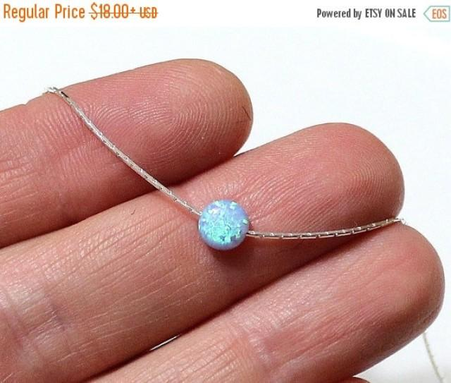 wedding photo - Spring Sale SALE Opal Coin Necklace, Disc necklace, Sterling Silver, Opal Blue Coin Necklace, Tiny Opal Necklace, Ball Necklace, Delicate Op
