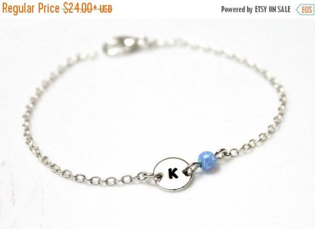 wedding photo - Spring Sale Opal Initial Bracelet, Sterling Silver Initial Bracelet, Initial Charm, Blue Opal Charm Bracelet, Sterling Silver Bracelet, Char