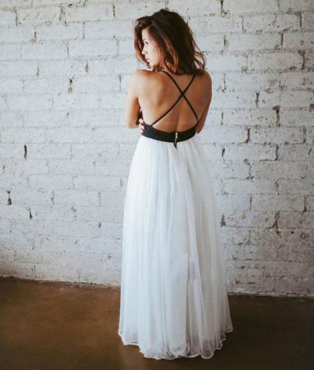 wedding photo - simple white chiffon backless long prom dress, evening dress from Dressywomen