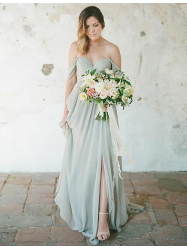 wedding photo - Buy Simple Off the Shoulder Backless Sweep Train Grey Bridesmaid Dress with Pleats Grey, from for $289.99 only in Main Website.