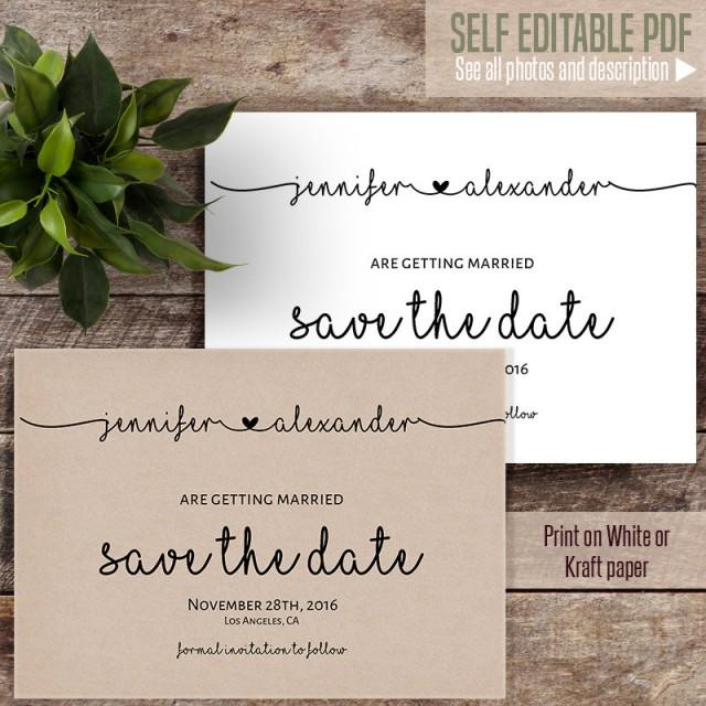 wedding photo - Save the Date, Wedding templates, Printable Save the date, Instant download self editable PDF S119