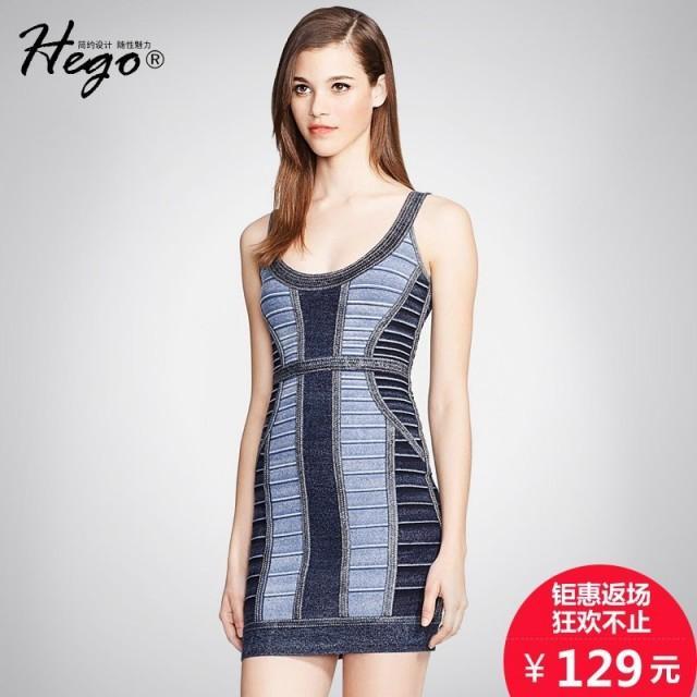 Autumn new denim hip strap Halter print dress sexy slim pencil skirt bandage dress woman - Bonny YZOZO Boutique Store
