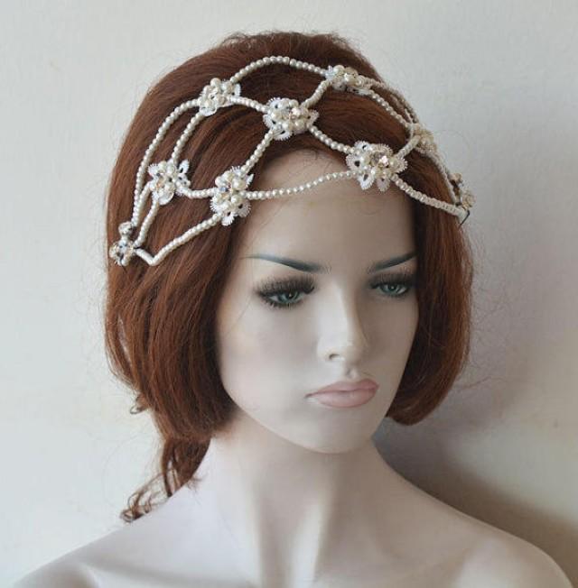 wedding photo - Bridal Pearl Headband, Wedding Headpiece, Pearl Wedding, Headband, Hair Piece, Bridal Hair Jewelry