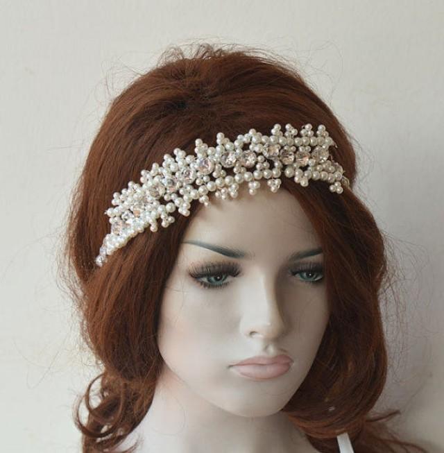 wedding photo - Bridal Headband, Wedding Pearl Hair Accessories, Pearl Headpiece, Bridal Hair, Bridal Hair Jewellery