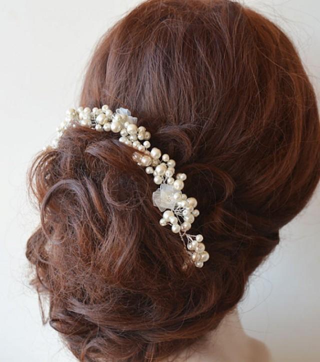 wedding photo - Bridal Headpiece, Wedding Pearl Headpiece, Pearl Wedding Hair, Bridal Hair Accessories, Hair Jewelry