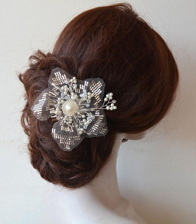 wedding photo - Bridal Hair Comb, Wedding Pearl Comb, Vintage style headpiece, Hair Comb, Hand embroidery, Bridal Hair Accessories