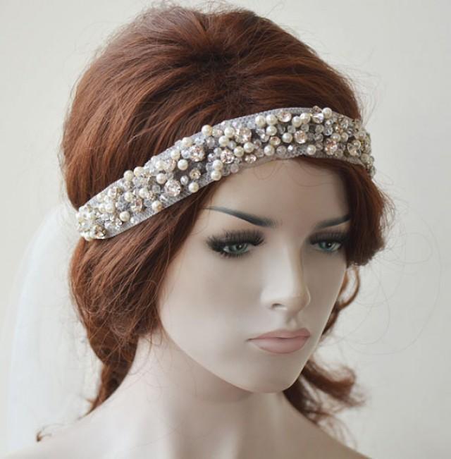 wedding photo - Bridal Headpiece, Wedding headband, Rhinestone Bridal Headband, Pearl Headpiece, Hair Jewelry, Bridal Hair Accessory