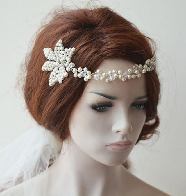 wedding photo - Wedding Headband, Pearl Headbands, Bridal Headpieces, Bridal Accessories, Wedding hair Accessory, With comb