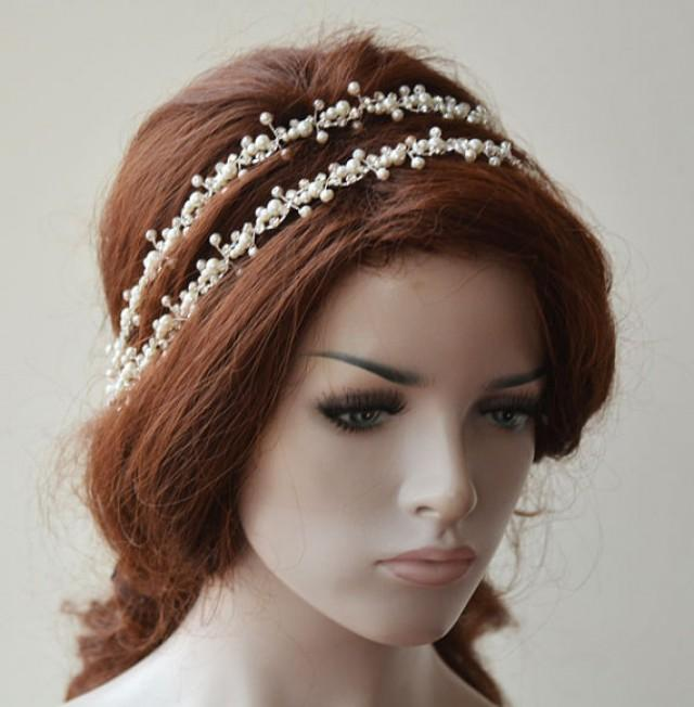 wedding photo - Bridal Headpiece, Pearl Double Headband, Pearl Headpiece, Wedding Headband, Bridal Hair Accessories, Hair Accessories for Wedding