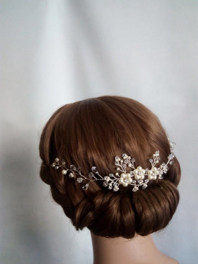 wedding photo - Bridal Hair Piece, Bridal Hair Vine, Wedding Hair Vine, Bridal Head Piece, Pearl hair Piece, Crystal Headpiece Hair Vine, Hair Jewelry
