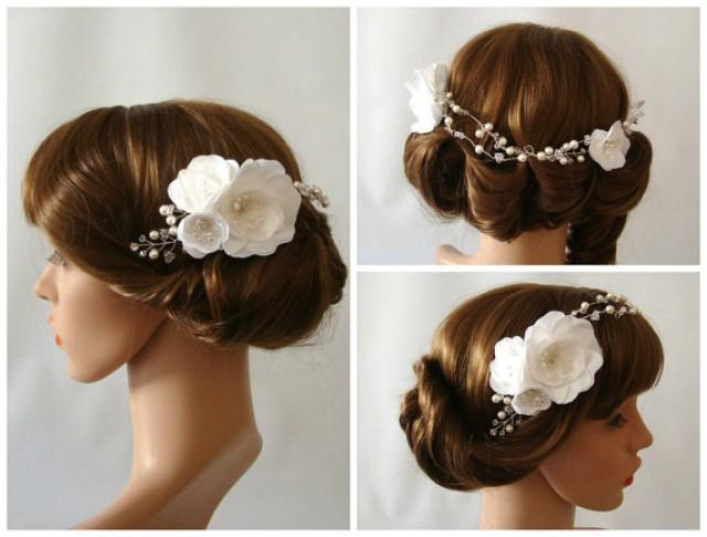 wedding photo - Flower Bridal Headpiece in Silver, Wedding Headpiece, Bridal Floral Headpiece, Wedding Hair Vine, Floral Hair Piece, Bridal Hair Vine - Lia