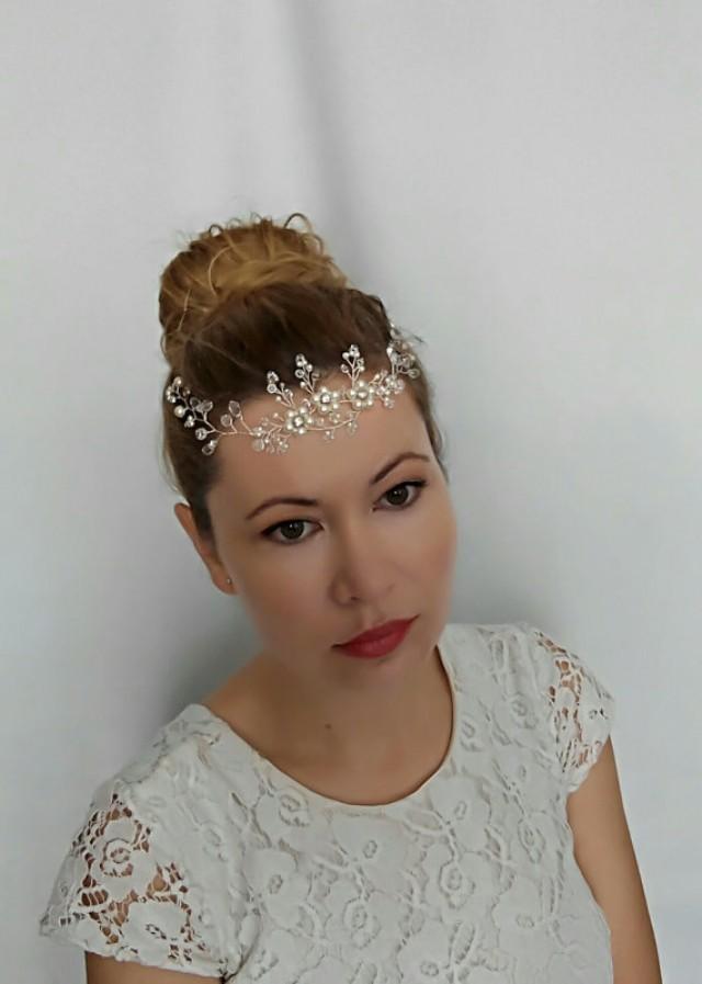 wedding photo - Bridal Hair Vine, Wedding Hair Vine, Crystal Headpiece, Bridal Head Piece, Bridal Hair Piece, Pearl and Crystal Bridal Hair Vine - Alicia