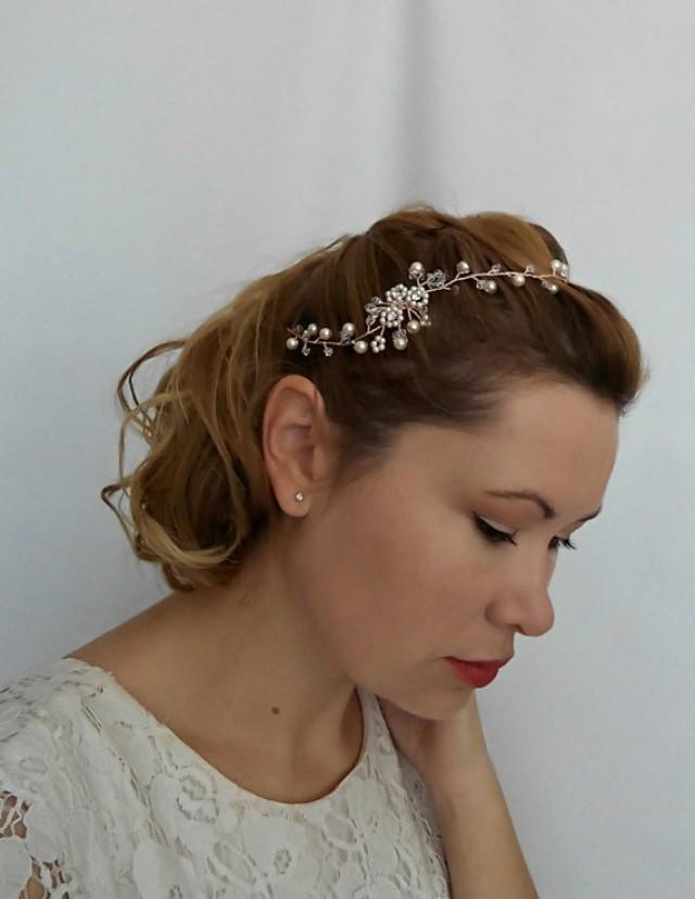 wedding photo - Rose Gold Hair Vine, Rose Gold Headband, Crystal Hair Vine, Rose Gold Halo, Rose Gold Tiara, Rose Gold Hair Chain, Rose Gold Accessory