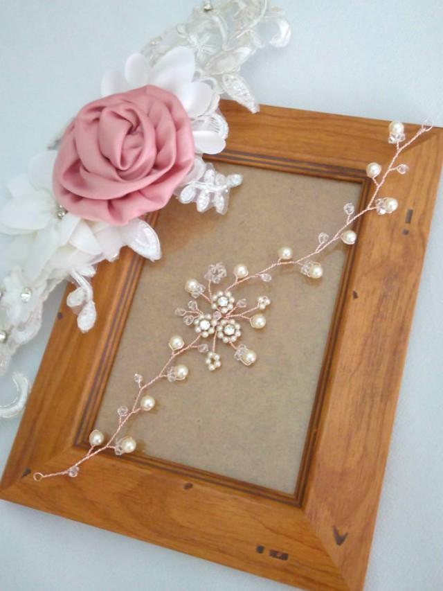 wedding photo - Rose Gold Bridal Headpiece, Rose Gold Wedding Hair Vine, Crystal and Pearl Wedding Hair Piece, Pearl Hair Vine, Rose Gold Hair Vine - ROSA