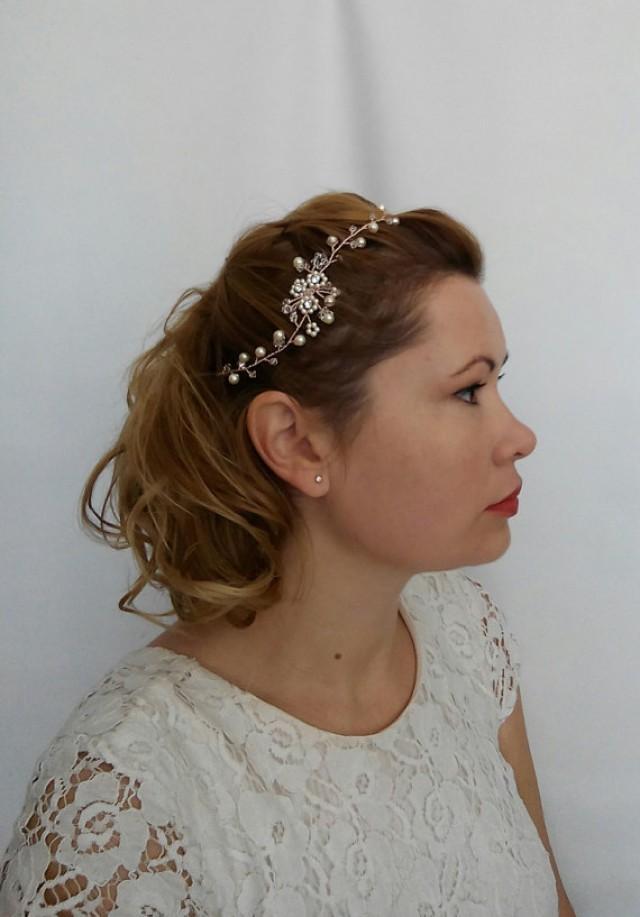 wedding photo - Flower Hair Vine, Pearl Hair Vine, Pearl Headpiece, Bridal Halo, Bridal Hair Vine, Hair Wreath, Bridal Circlet, Bridal Headband, Pearl Tiara