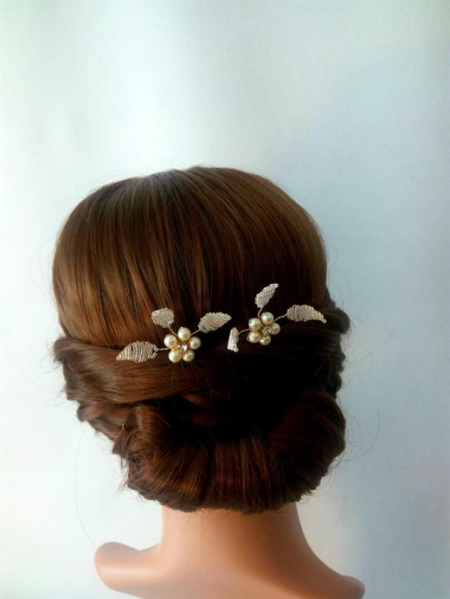 wedding photo - Set of 2 Bridal Hair Pins, Head Pieces, Wedding Hair Pins, Hair Pieces Wedding, Pearl Hair Pins Leaf Hair Pins, Pearl Bridal Hair Pins Leyla