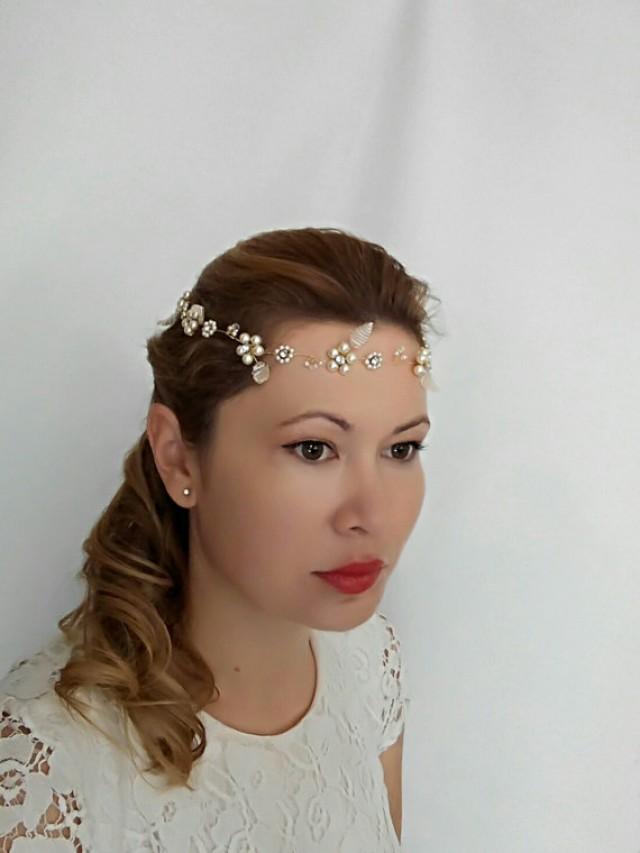 wedding photo - Flower Headband Wedding Headband, Bridal Headband, Flower Crown, Leaf Headband, Flower Headpiece, Bridal Halo Headpiece, Hair Halo - Amelia